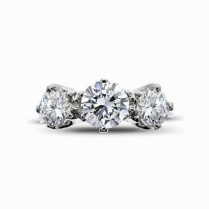3 Stone Old Cut Diamond Ring 1.33ct